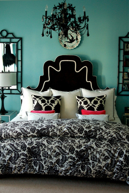 Thinking blue for Black white pink bedroom ideas