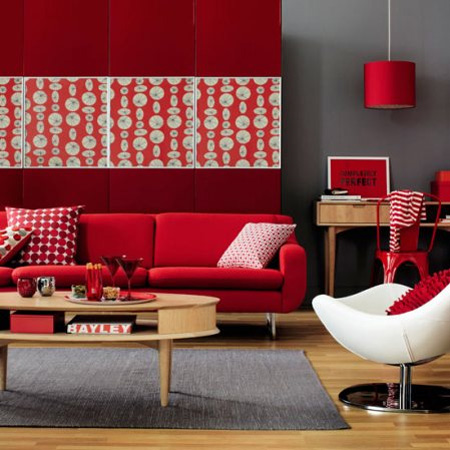 liking the red white combo in this living room that red panel